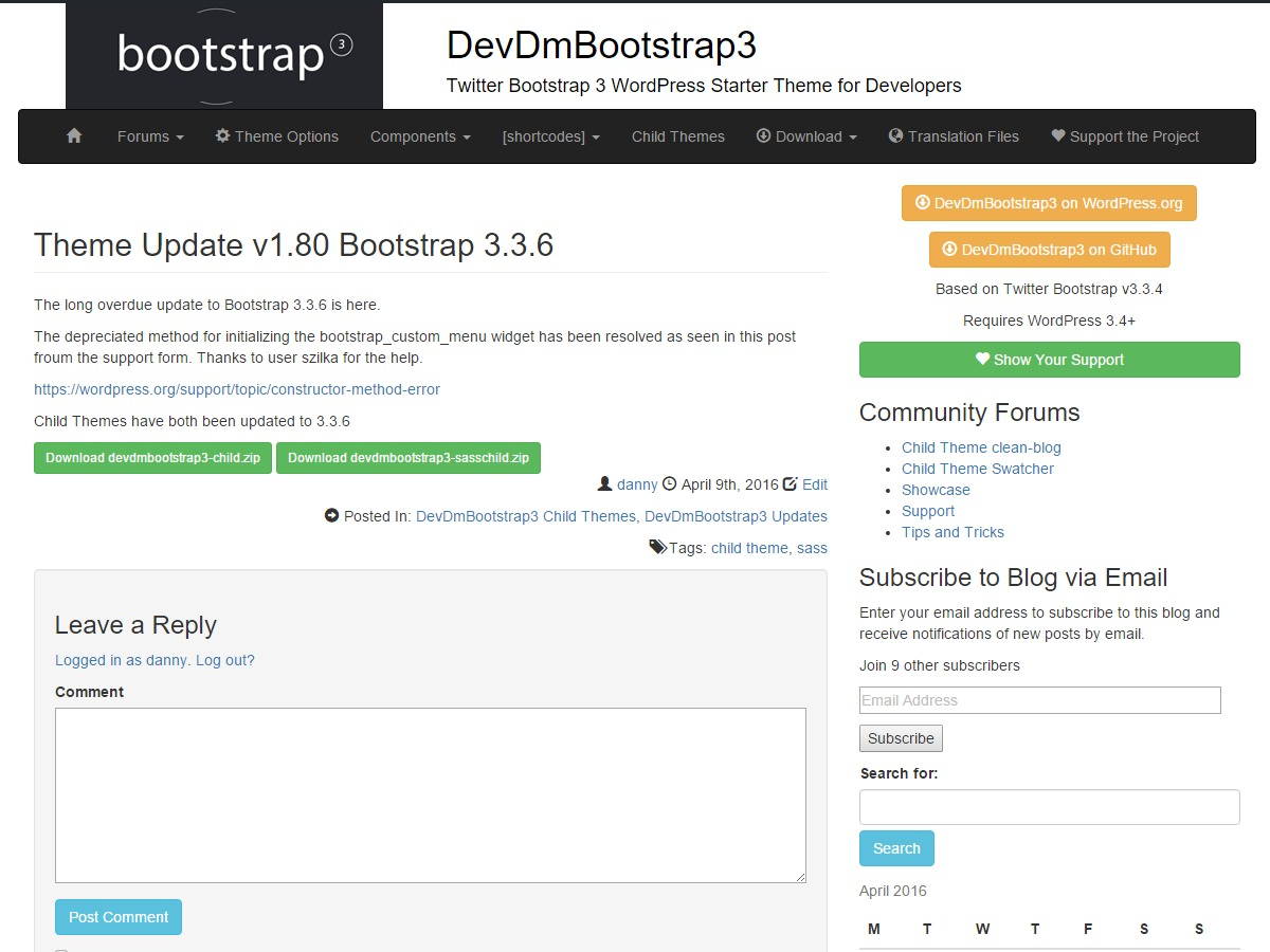 DevDmBootstrap3 best free WordPress theme
