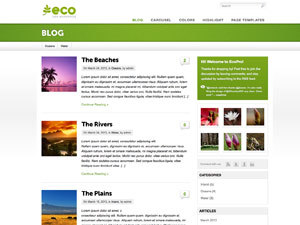 Eco WordPress page template