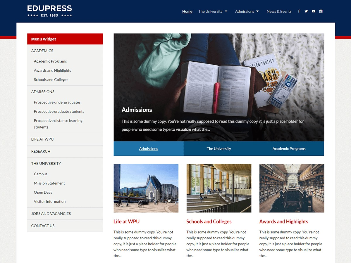 EduPress free WordPress theme