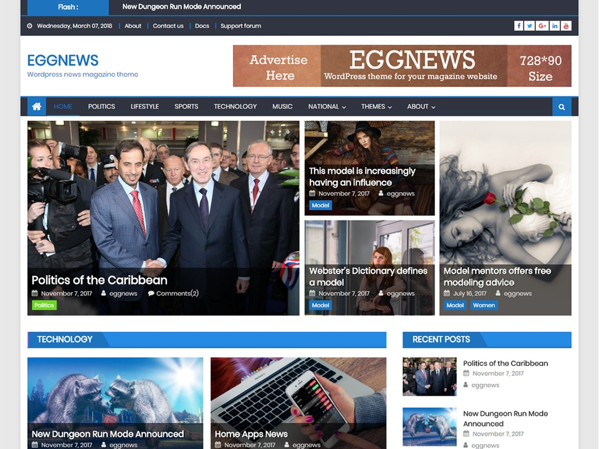 Eggnews free WP theme