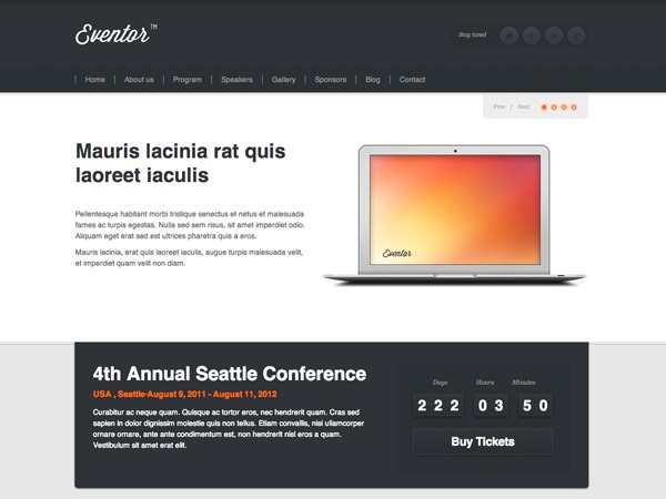 Eventor WordPress template for photographers