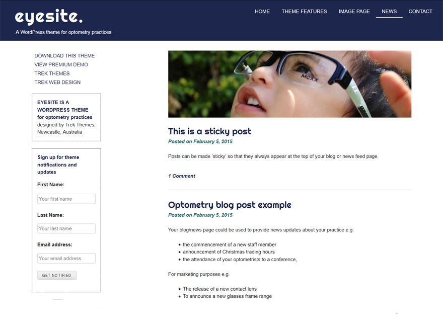 eyesite template WordPress free