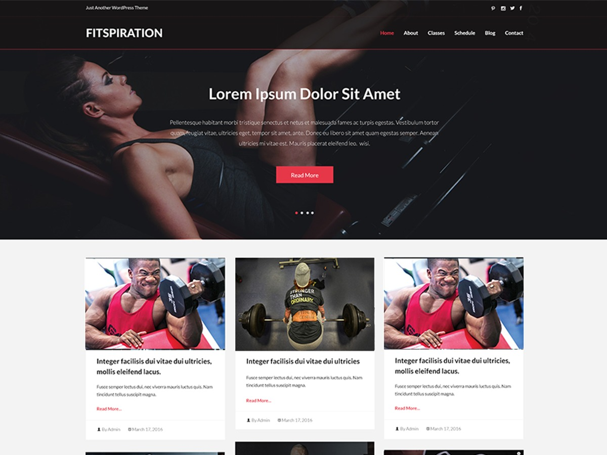 Fitspiration best free WordPress theme