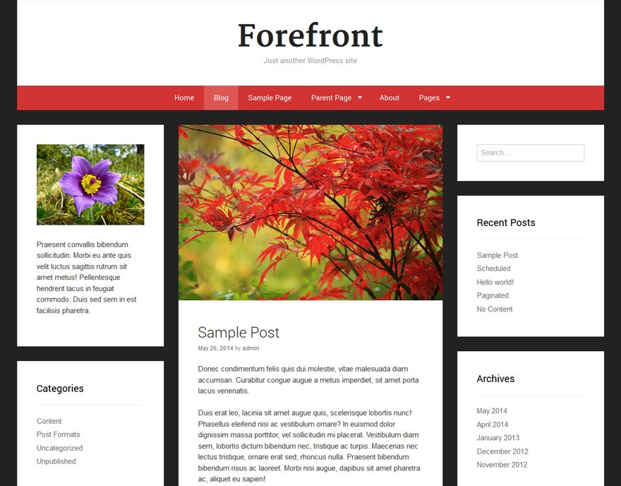 Forefront free WP theme