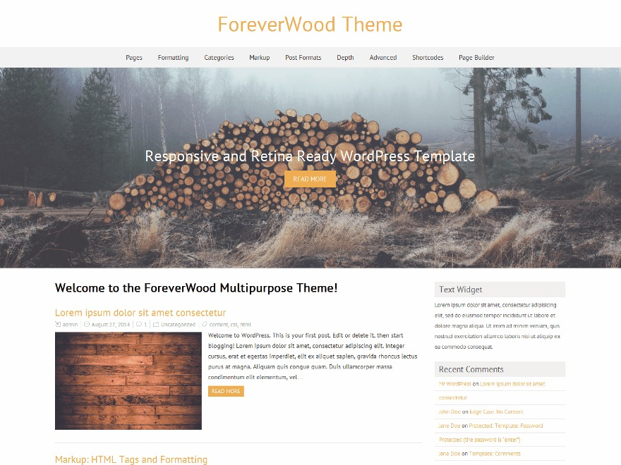 ForeverWood theme WordPress free