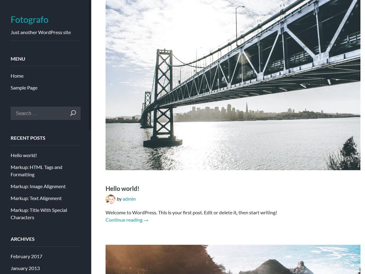 Fotografo template WordPress free