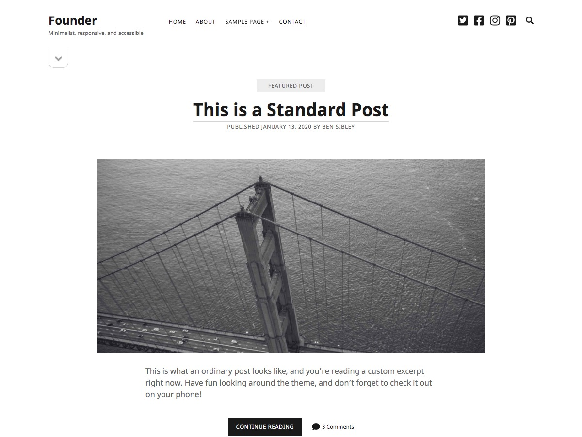 Founder WordPress template free