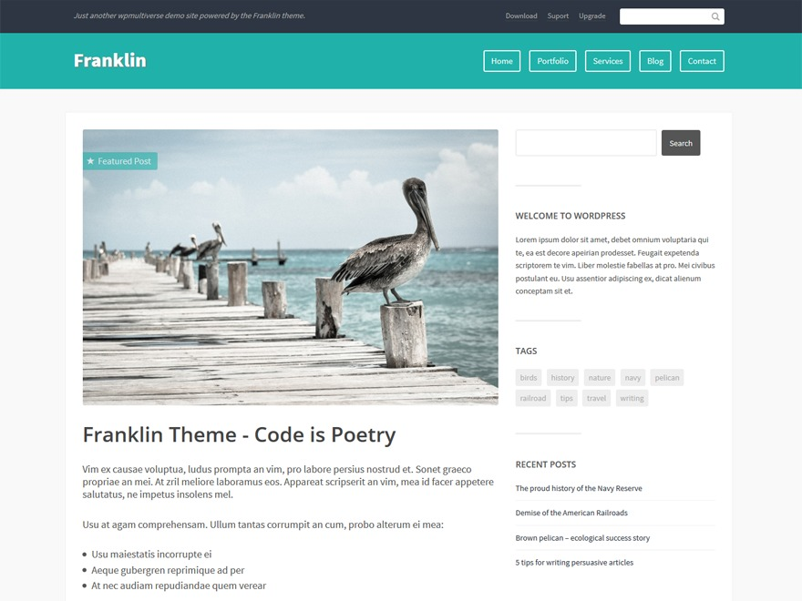 Franklin WordPress blog template