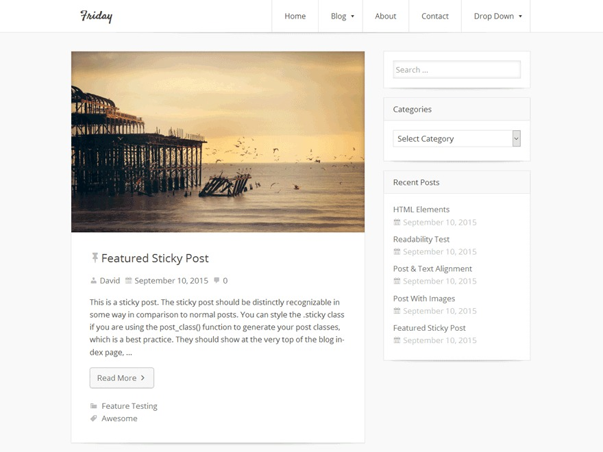 Friday free WordPress theme