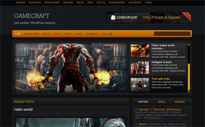 Gamecraft WordPress gaming theme