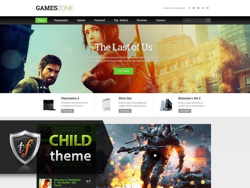 GamesZone Child WordPress gaming theme