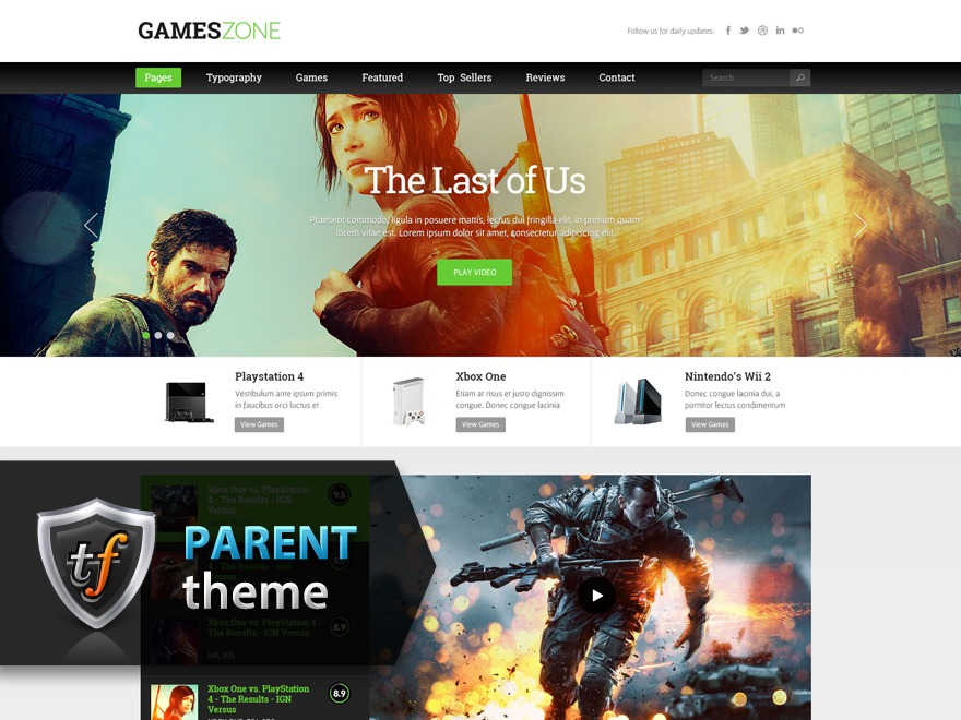 GamesZone Parent WordPress gaming theme