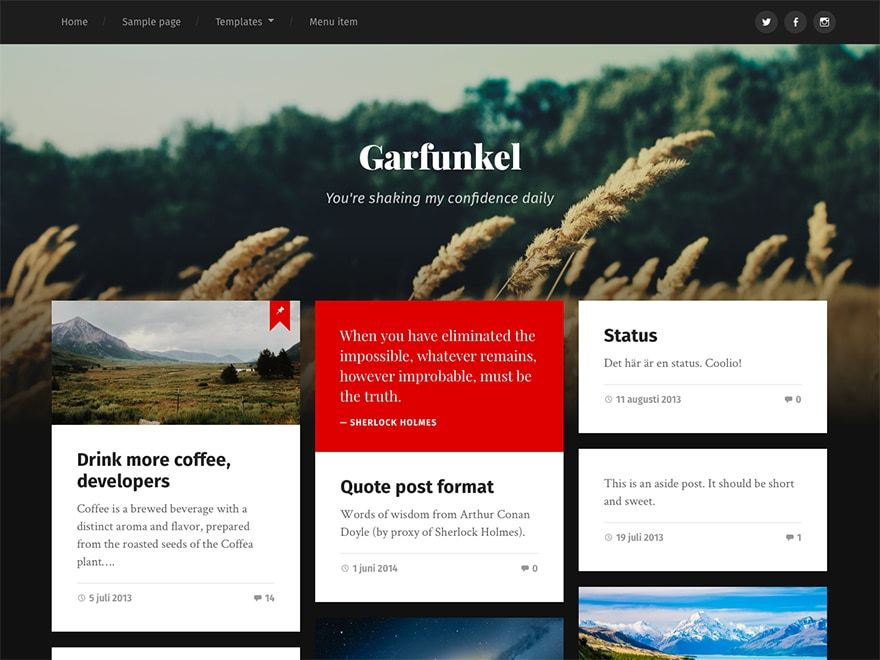 Garfunkel wallpapers WordPress theme