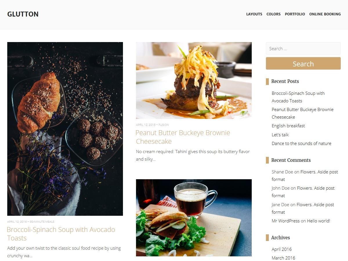 Glutton free website theme