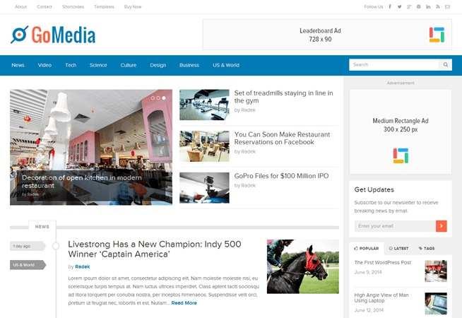 GoMedia best WordPress magazine theme