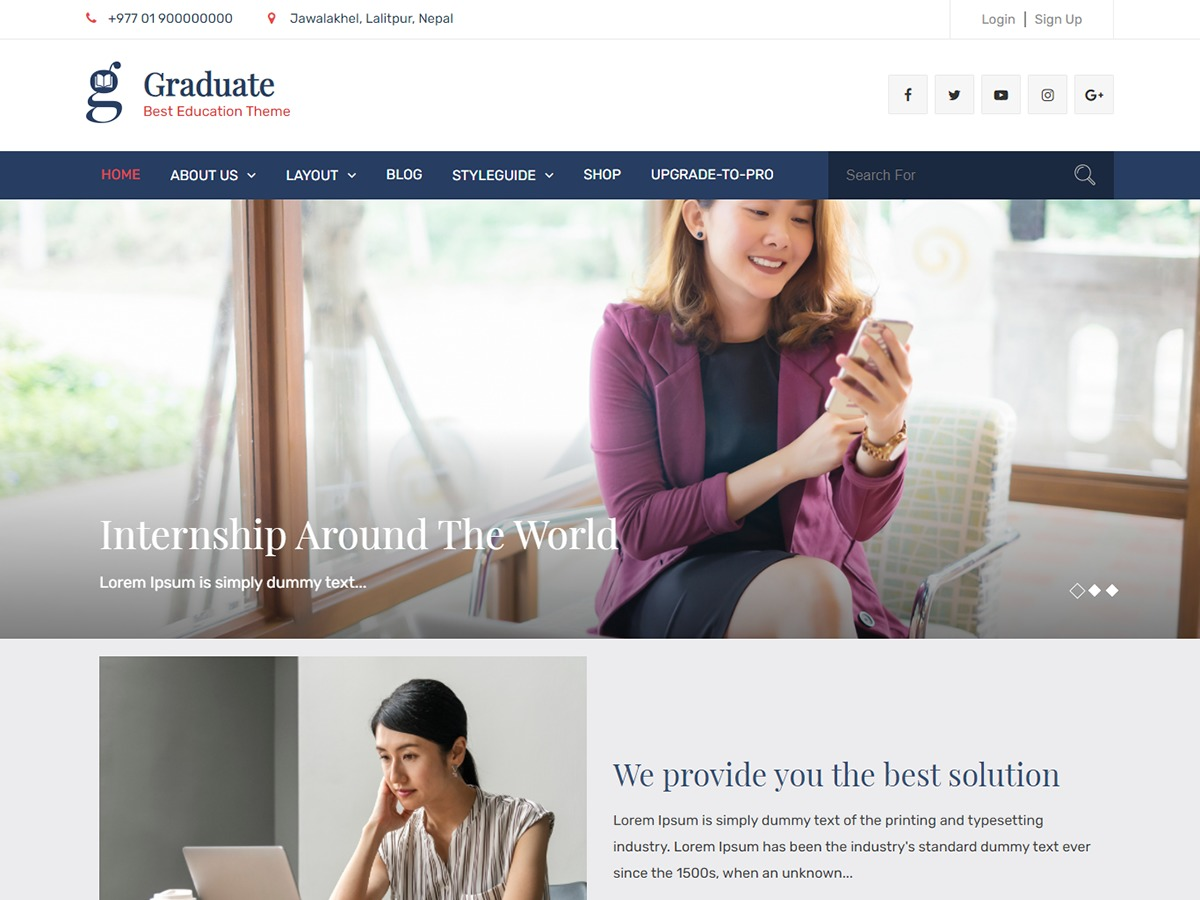 graduate free WordPress theme