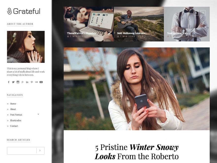 Grateful WordPress blog theme