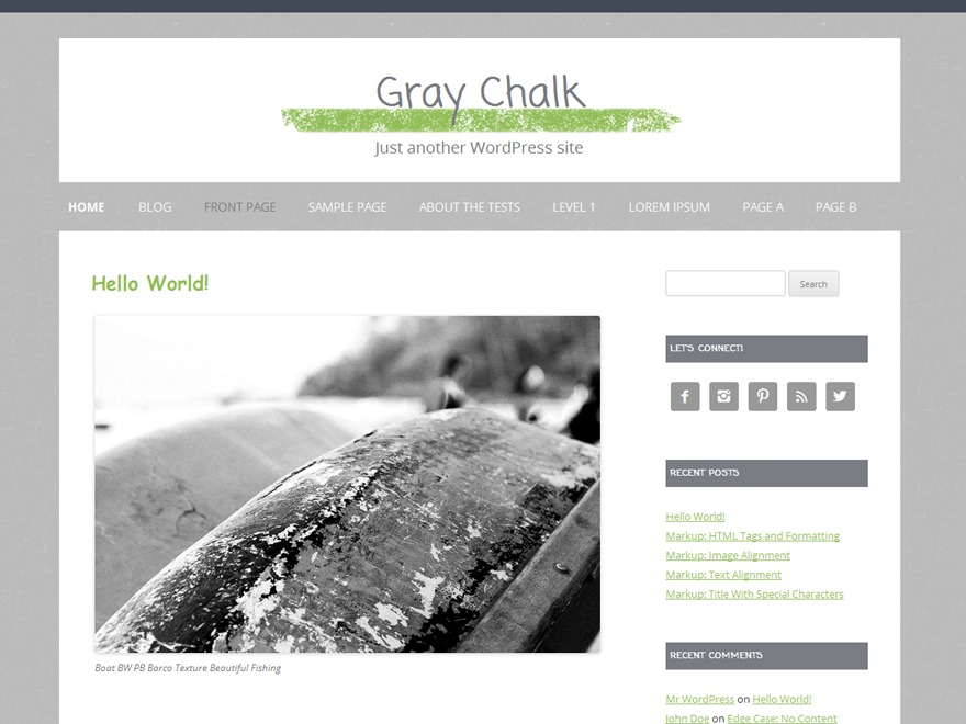 Gray Chalk theme WordPress