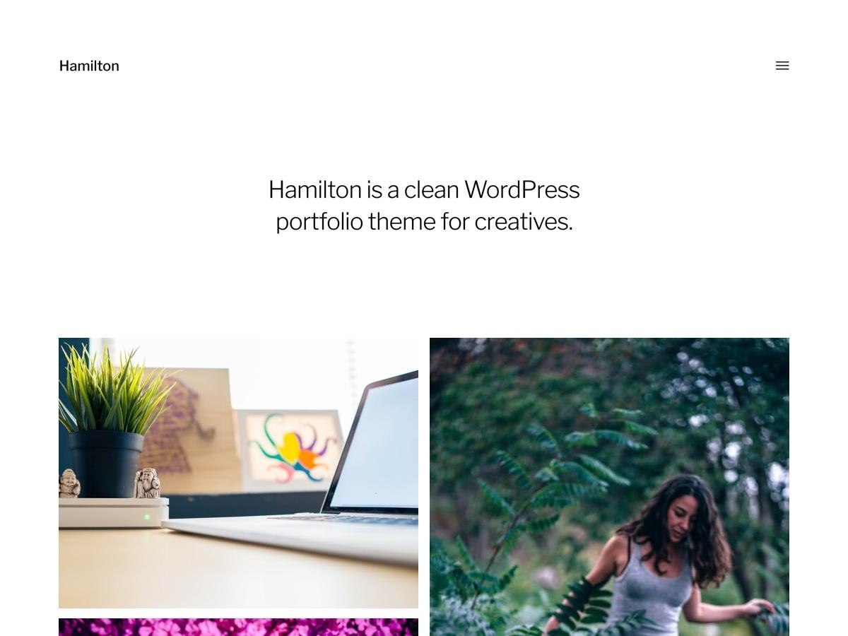 Hamilton personal blog WordPress theme