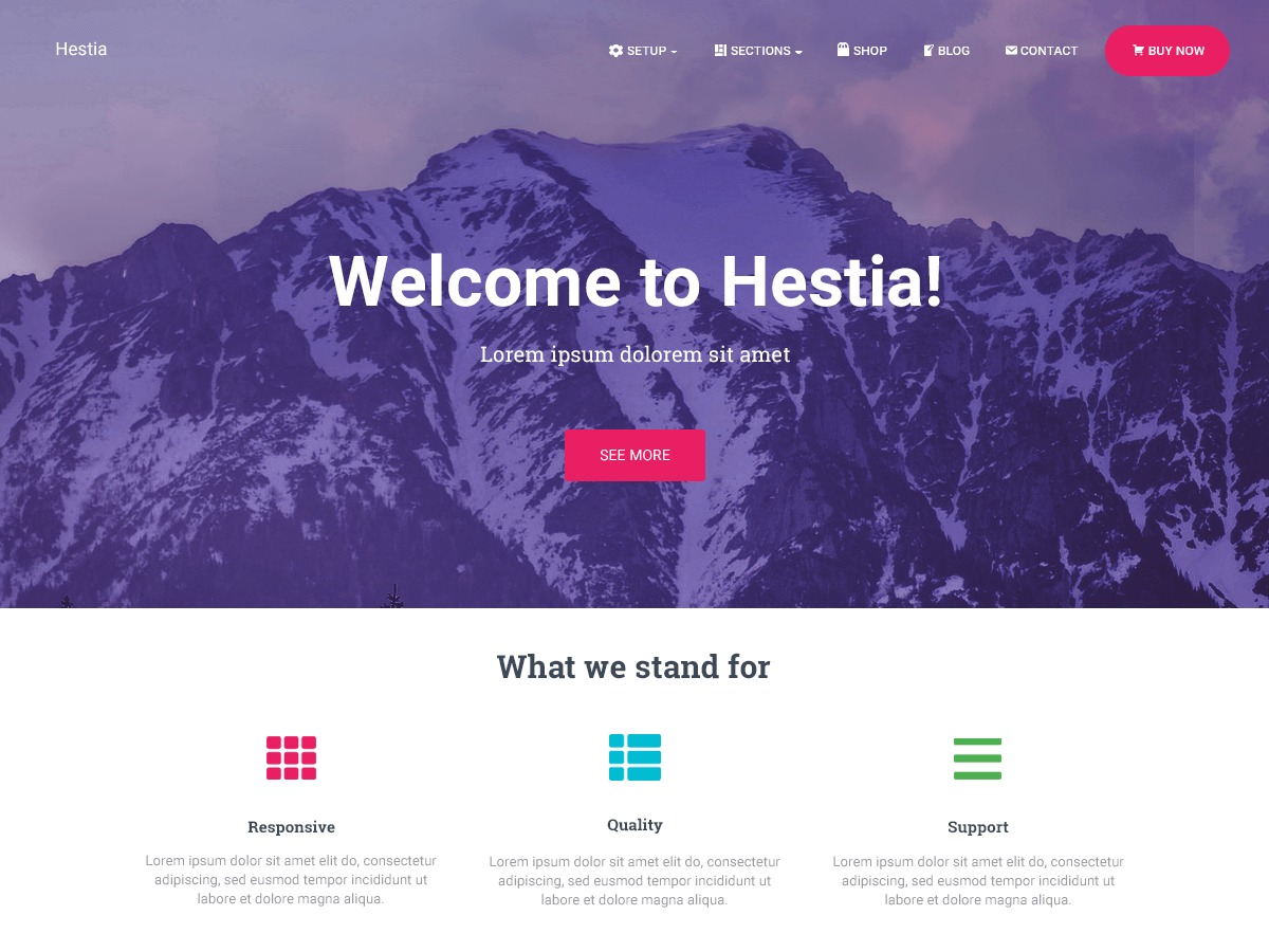 Hestia personal blog WordPress theme
