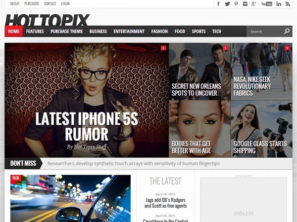 Hot Topix WordPress news template