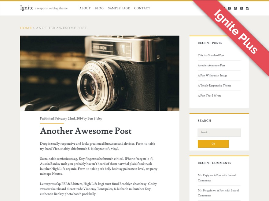 Ignite Plus WordPress blog template