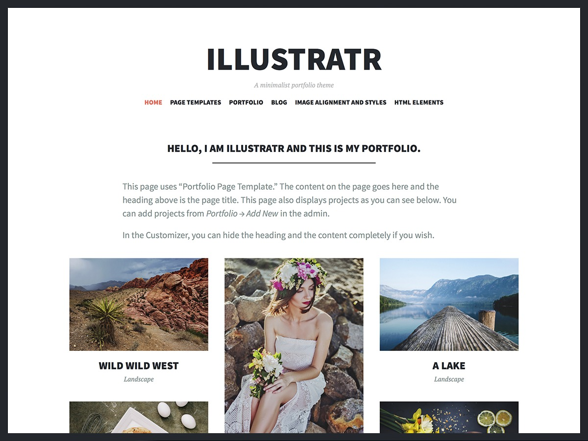 Illustratr personal WordPress theme