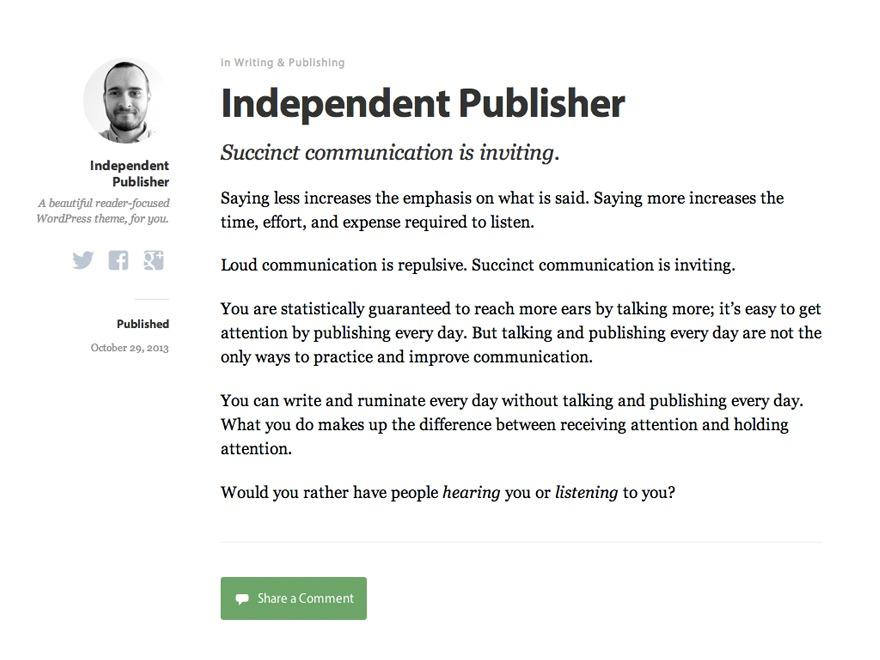 Independent Publisher free WP theme