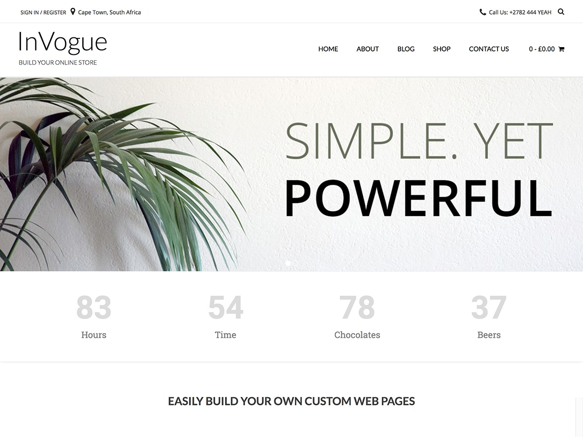 inVogue WordPress shopping theme