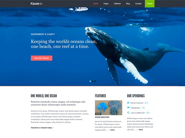 Kause WordPress page template