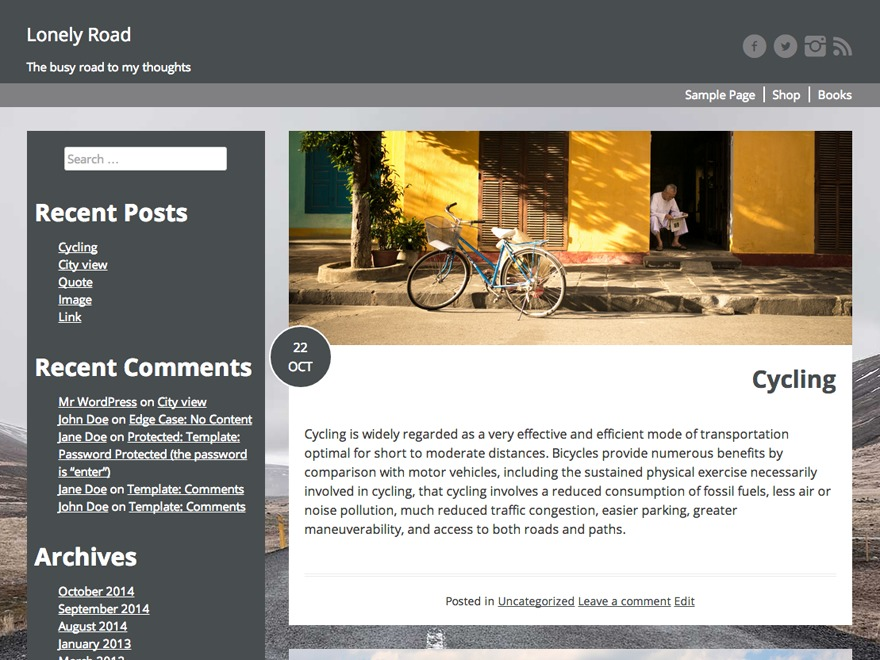 Lonely Road WordPress template for photographers