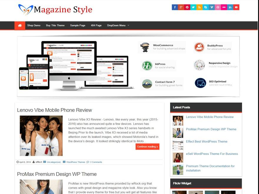 Magazine Style best free WordPress theme
