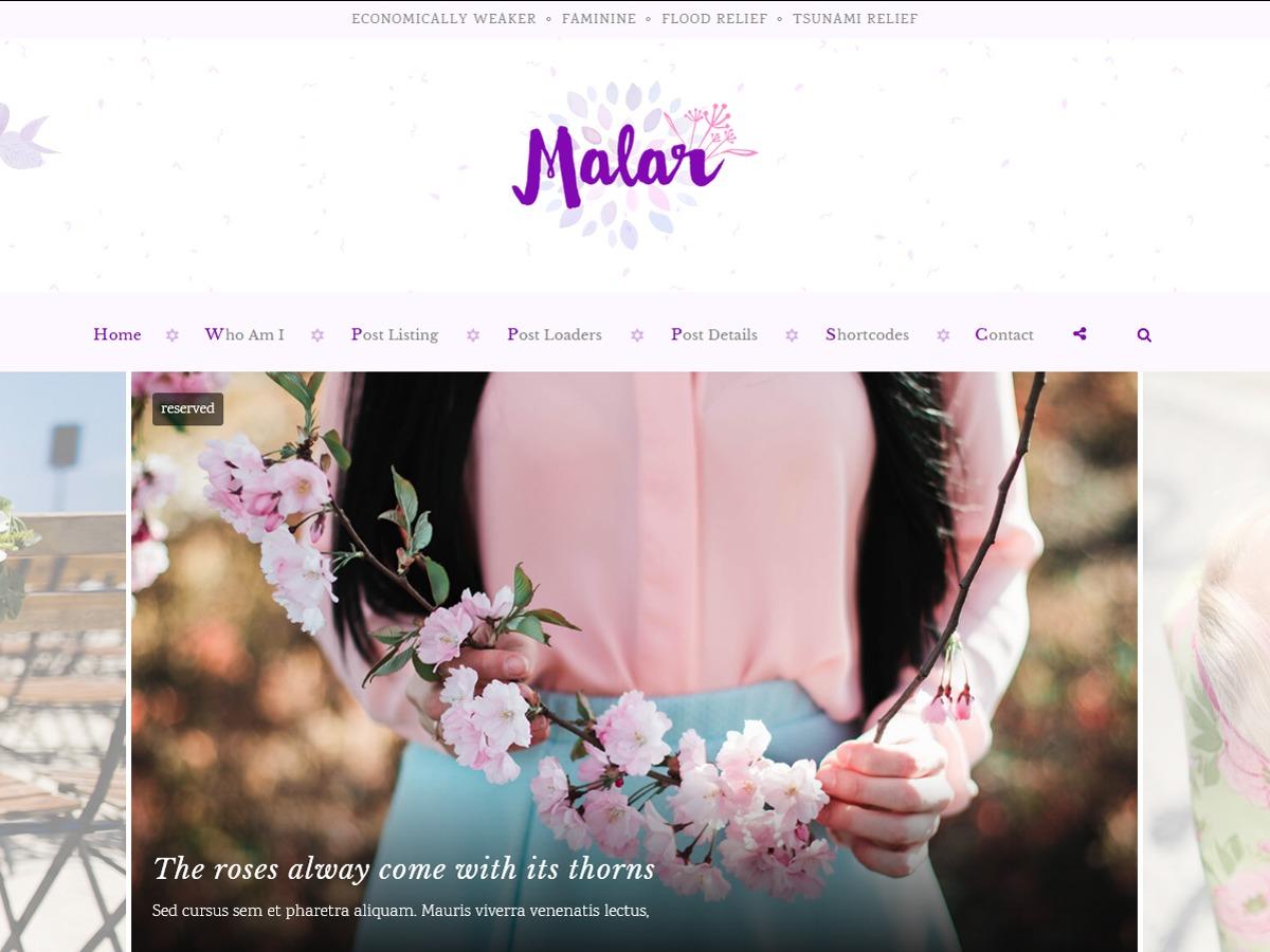 Malar WordPress blog theme