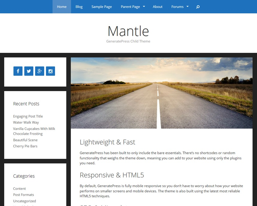 Mantle template WordPress free