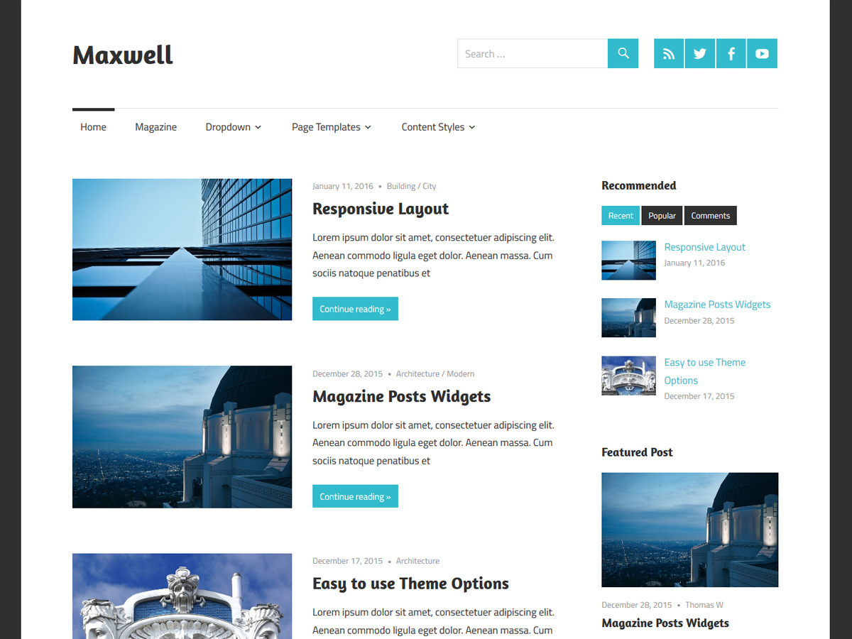 Maxwell WordPress template free