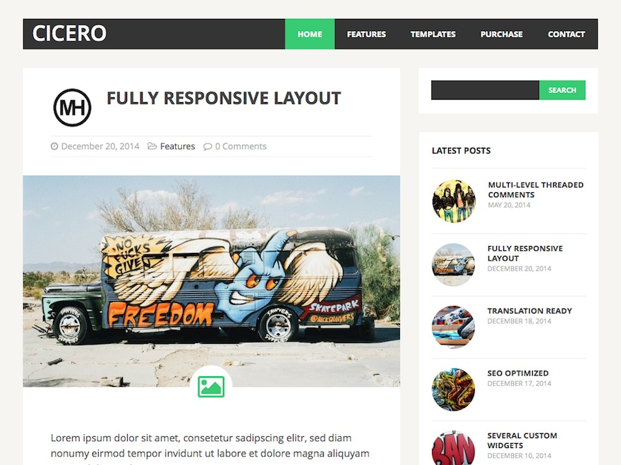 MH Cicero lite WordPress blog template