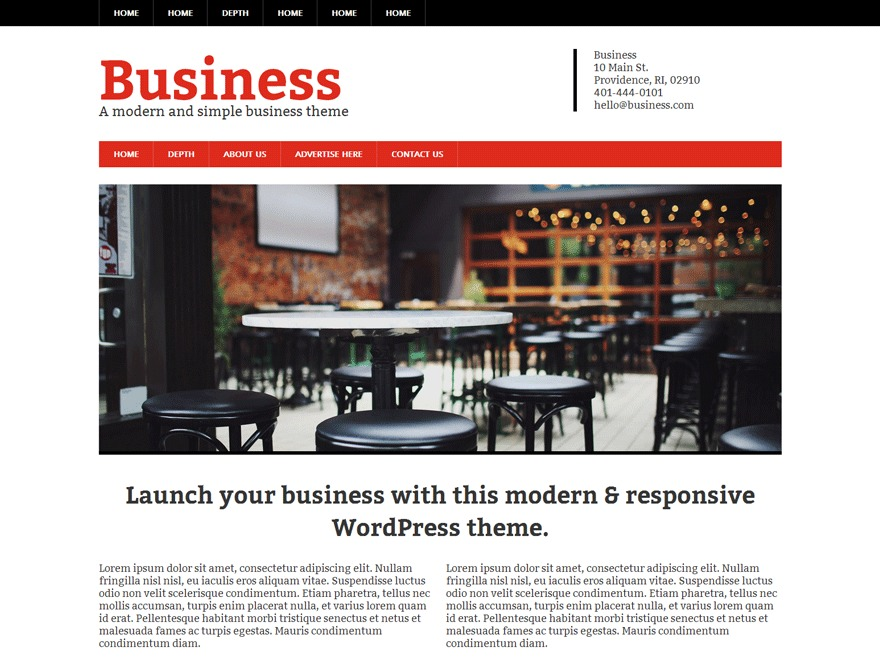 Modern Business Pro WordPress template for business