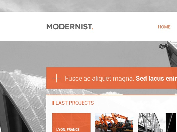 Modernist WordPress page template