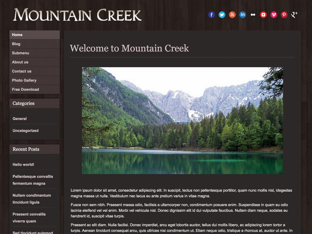 Mountain Creek WordPress template free download