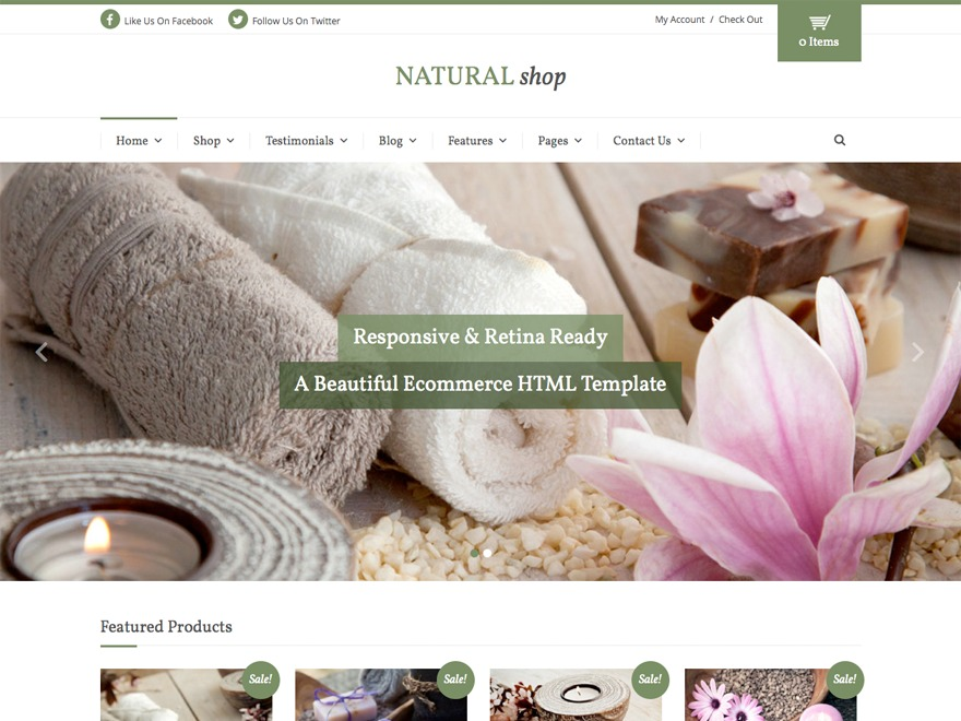 Natural Shop WordPress ecommerce template