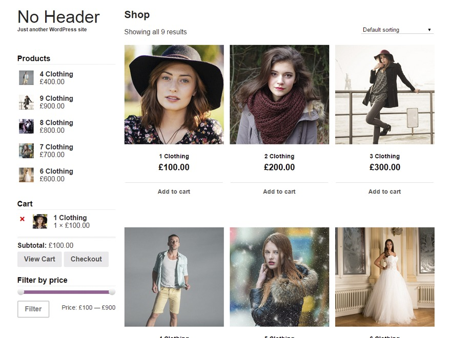 No header WordPress ecommerce template