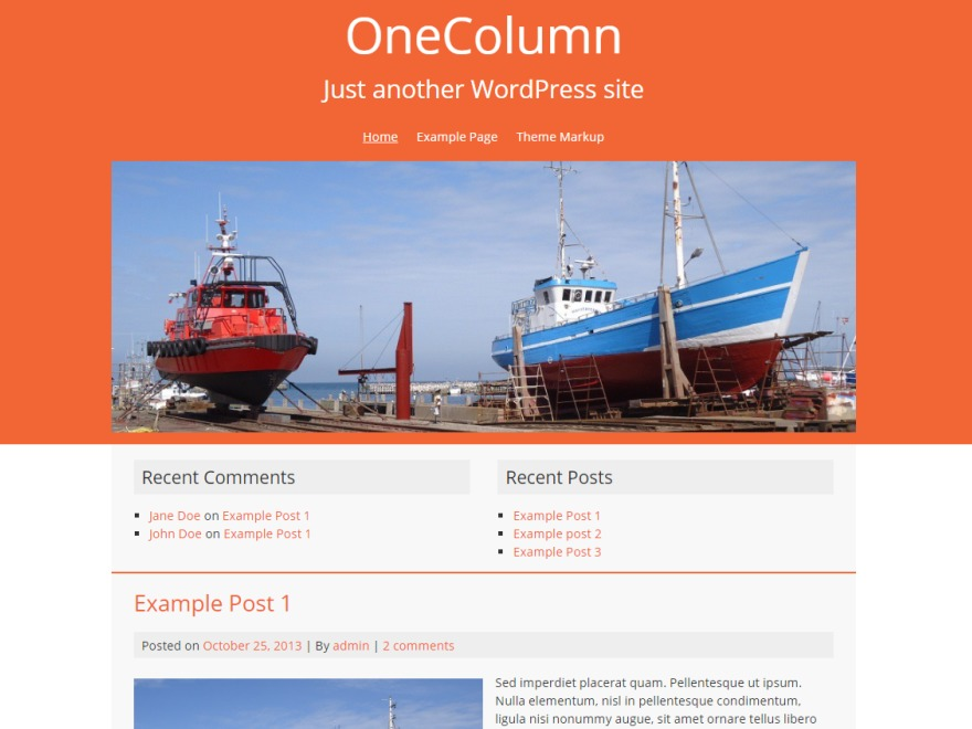 OneColumn free WordPress theme