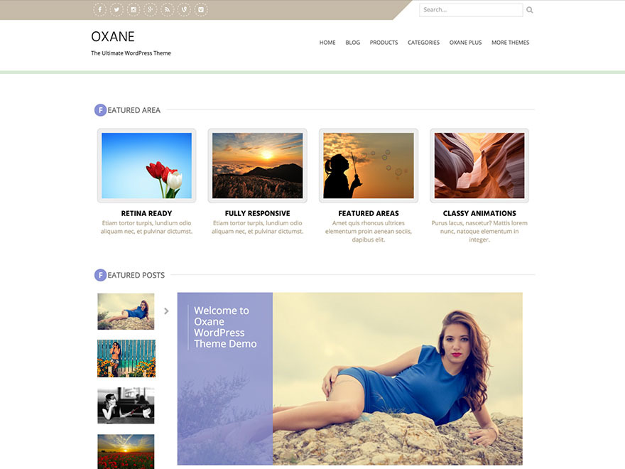 Oxane template WordPress free