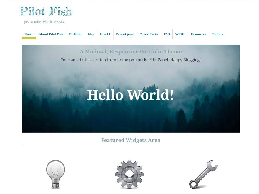 Pilot Fish personal blog WordPress theme