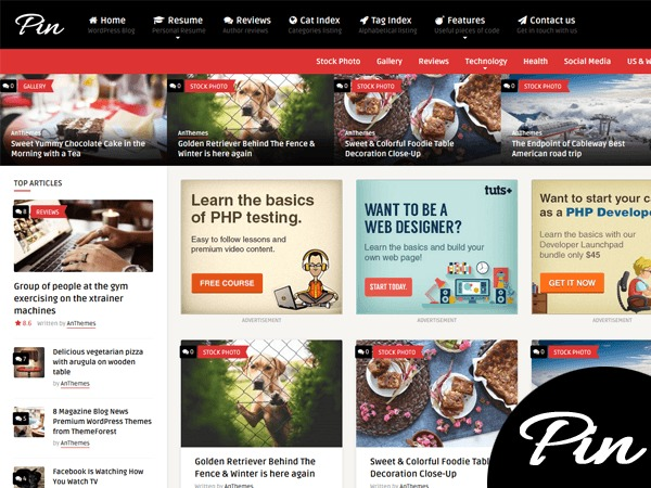 Pin WordPress news theme