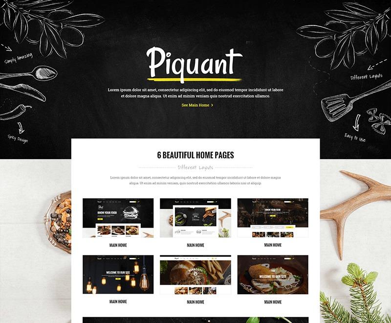 Piquant WordPress restaurant theme