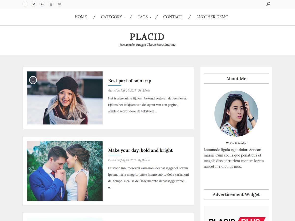 Placid best free WordPress theme