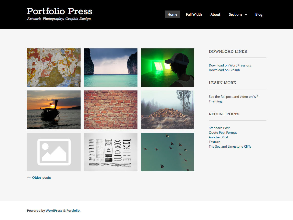 Portfolio Press wallpapers WordPress theme