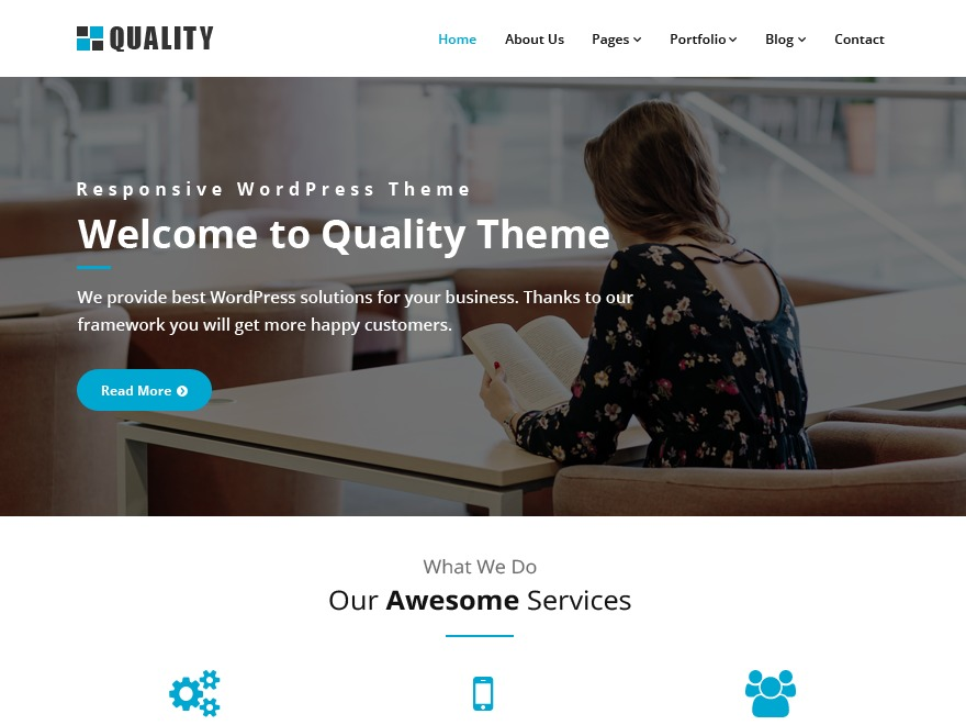 Quality blue WordPress template free