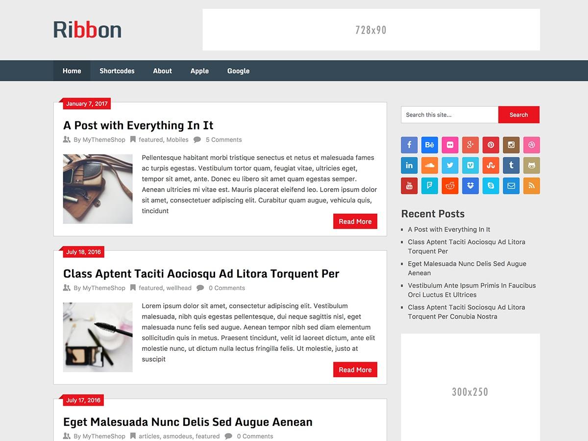 Ribbon Lite WordPress template free